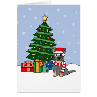 Australian Cattle Dog and Christmas Tree Card
