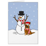 Australian Cattle Dog and Snowman Greeting Cards