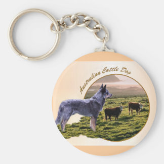 Australian Cattle Dog Art Basic Round Button Key Ring