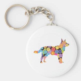 Australian Cattle Dog Basic Round Button Key Ring