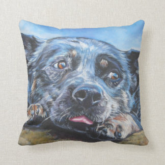 australian cattle dog blue heeler fine dog art cushion