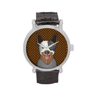 Australian Cattle Dog Cartoon Paws Wrist Watches