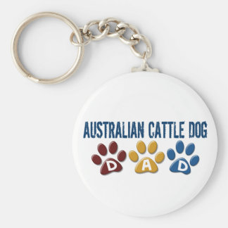 AUSTRALIAN CATTLE DOG DAD Paw Print Basic Round Button Key Ring