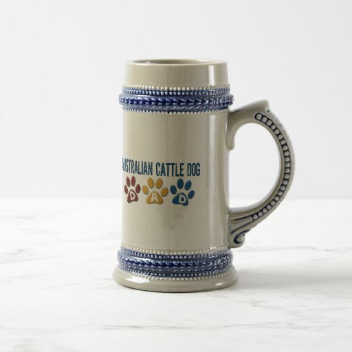 AUSTRALIAN CATTLE DOG DAD Paw Print Mugs