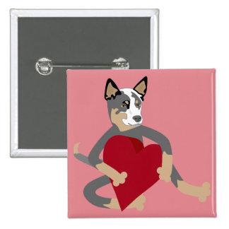 Australian Cattle Dog Heart 15 Cm Square Badge