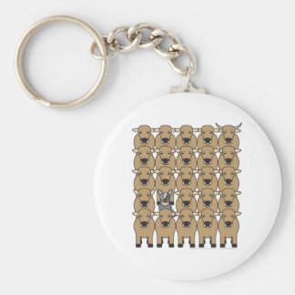 Australian Cattle Dog in the Herd Basic Round Button Key Ring