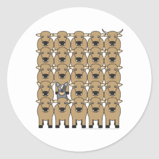 Australian Cattle Dog in the Herd Classic Round Sticker