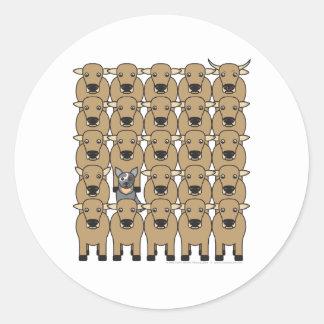 Australian Cattle Dog in the Herd Round Sticker