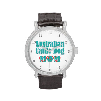 Australian Cattle Dog Mom Hearts Wrist Watches