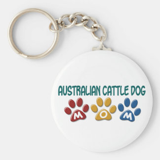 AUSTRALIAN CATTLE DOG MOM Paw Print Basic Round Button Key Ring