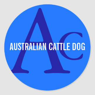 Australian Cattle Dog Monogram Classic Round Sticker