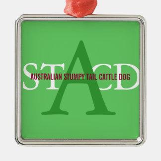 Australian Cattle Dog Monogram Silver-Colored Square Decoration