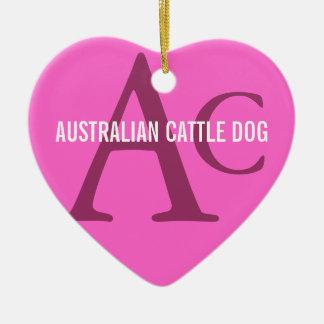 Australian Cattle Dog Monogram Ceramic Heart Decoration