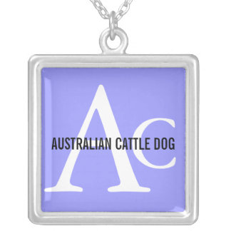 Australian Cattle Dog Monogram Square Pendant Necklace