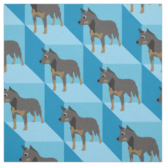 Australian Cattle Dog on Blue Cubes Fabric