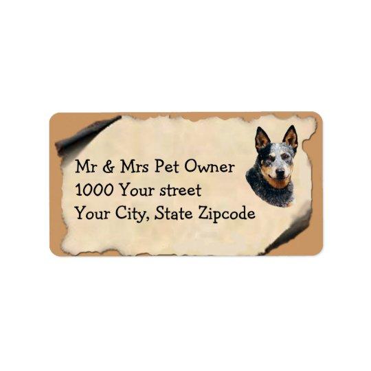 Australian Cattle Dog on Old Parchment Address Label