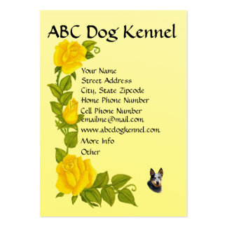 Australian Cattle Dog on Yellow Roses Pack Of Chubby Business Cards