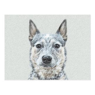 Australian Cattle Dog Painting - Cute Original Art Postcard