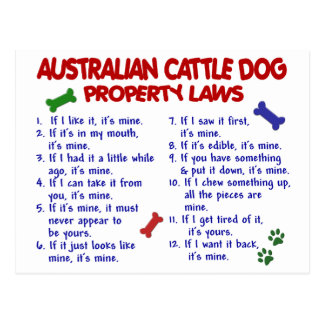 AUSTRALIAN CATTLE DOG Property Laws 2 Postcard