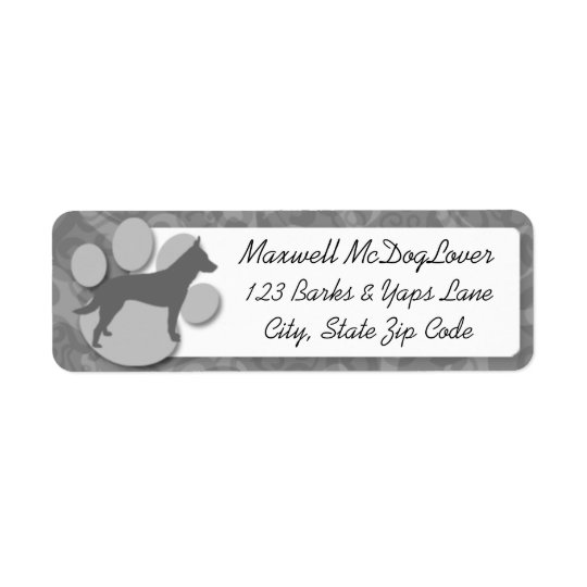 Australian Cattle Dog Silhouette Return Address Label