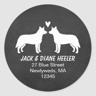 Australian Cattle Dog Silhouettes Return Address Classic Round Sticker
