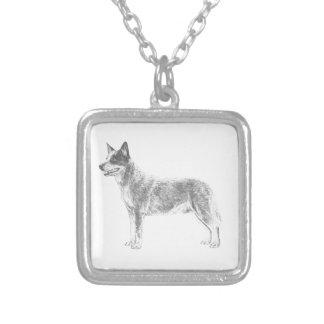 Australian Cattle Dog Square Pendant Necklace