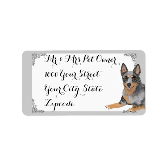 Australian Cattle Dog w/white and silver design Label