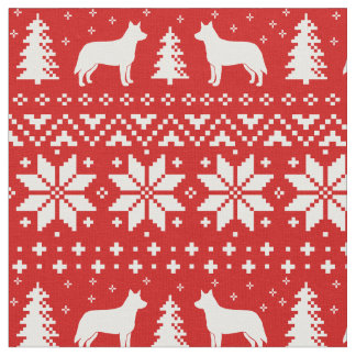 Australian Cattle Dogs Christmas Pattern Red Fabric