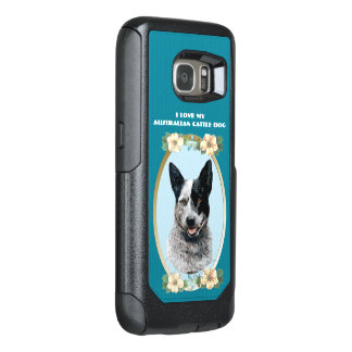 Australian Cattledog on Teal Floral OtterBox Samsung Galaxy S7 Case