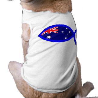 Australian ChrIstian Fish Symbol Flag Dog Tshirt