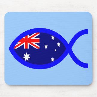 Australian ChrIstian Fish Symbol Flag Mouse Pads