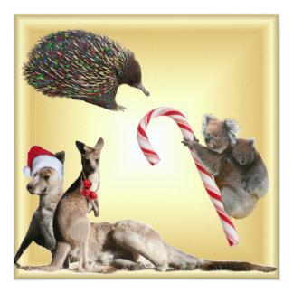 Australian Christmas Animals 13 Cm X 13 Cm Square Invitation Card