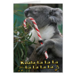 Australian Christmas Koala With Candy Cane Card