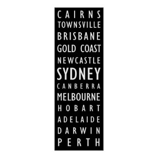 Australian Cities Vintage Transit Scroll Poster