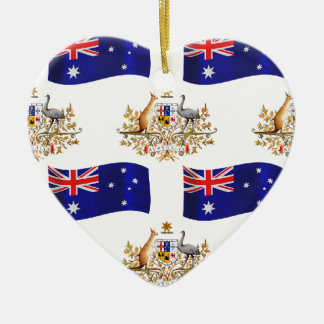 Australian Flag and Crest Ceramic Heart Decoration