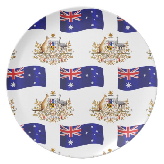 Australian Flag and Crest Plate