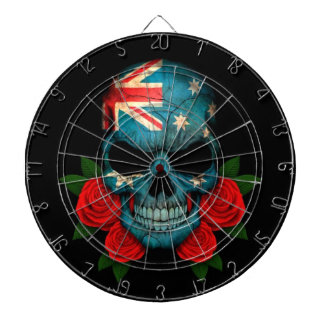 Australian Flag Skull with Red Roses Dartboard