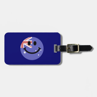 Australian flag smiley face luggage tag