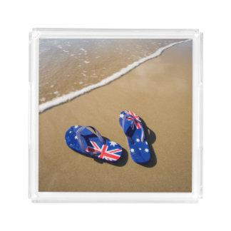 Australian Flag Thongs On Beach   South Wales Acrylic Tray