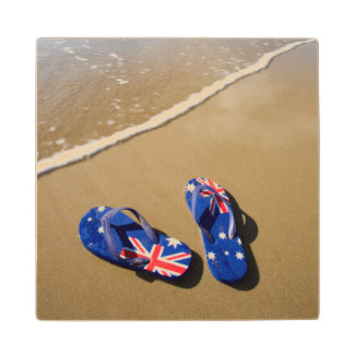 Australian Flag Thongs On Beach | South Wales Wood Coaster