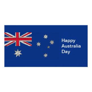 Australian Flag Zentangle-Inspired Decorative Photo Card Template