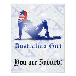 "Australian Girl Silhouette Flag 4.25"" X 5.5"" Invitation Card"