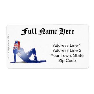 Australian Girl Silhouette Flag Shipping Label