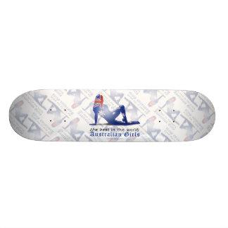Australian Girl Silhouette Flag Custom Skate Board