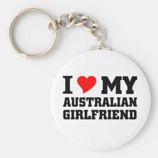 Australian Girlfriend Basic Round Button Key Ring
