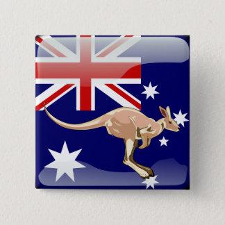 Australian glossy flag 15 cm square badge