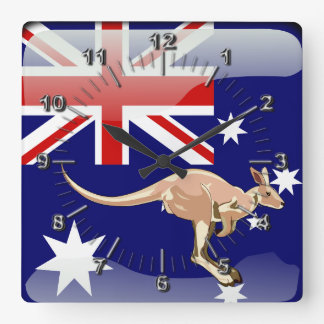 Australian glossy flag square wall clock