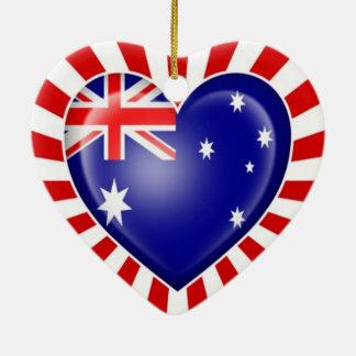 Australian Heart Flag with Star Burst Ceramic Heart Decoration