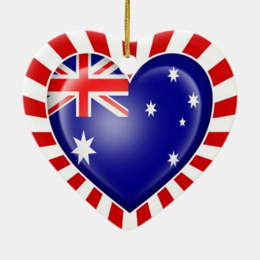 Australian Heart Flag with Star Burst Christmas Tree Ornaments