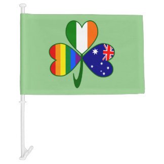 Australian Irish Gay Pride Shamrock Car Flag